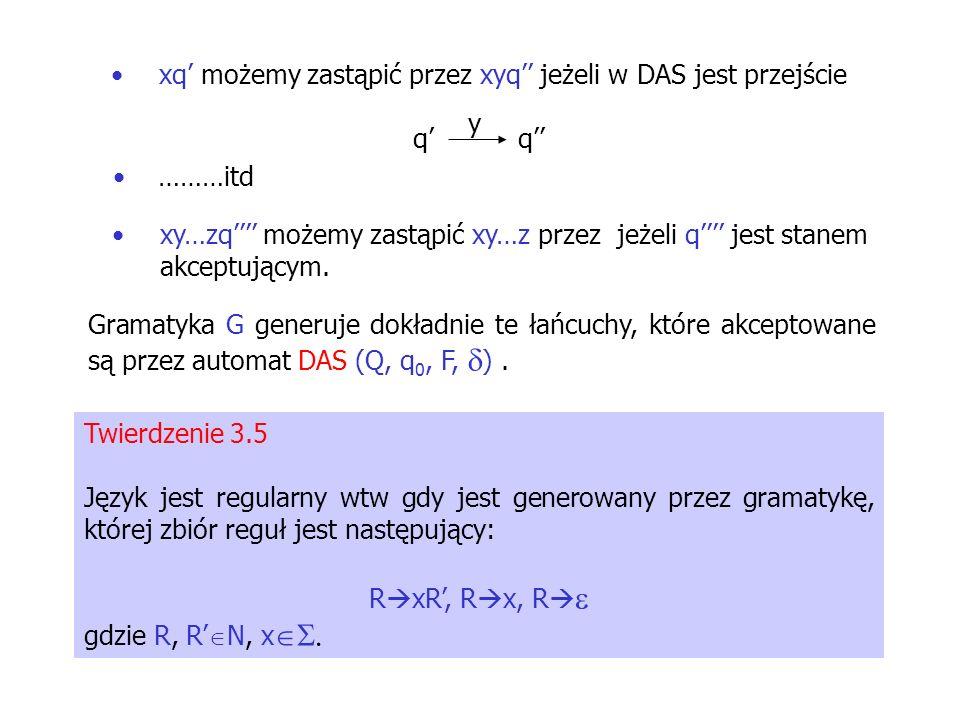 xq możemy zastąpić przez xyq jeżeli w DAS jest przejście qq y ………itd xy…zq możemy zastąpić xy…z przez jeżeli q jest stanem akceptującym. Gramatyka G g