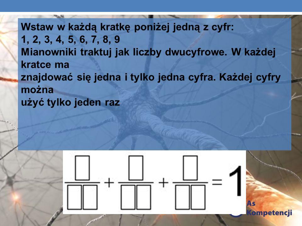 Wstaw w każdą kratkę poniżej jedną z cyfr: 1, 2, 3, 4, 5, 6, 7, 8, 9 Mianowniki traktuj jak liczby dwucyfrowe. W każdej kratce ma znajdować się jedna