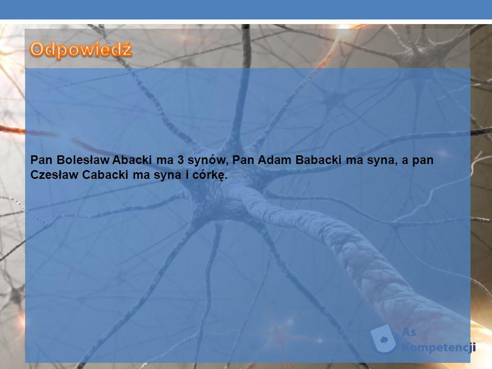 Pan Bolesław Abacki ma 3 synów, Pan Adam Babacki ma syna, a pan Czesław Cabacki ma syna i córkę.