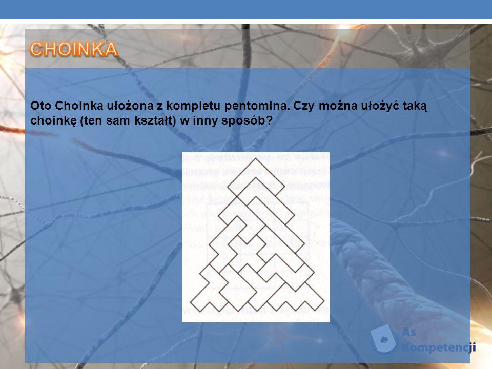 Oto Choinka ułożona z kompletu pentomina. Czy można ułożyć taką choinkę (ten sam kształt) w inny sposób?