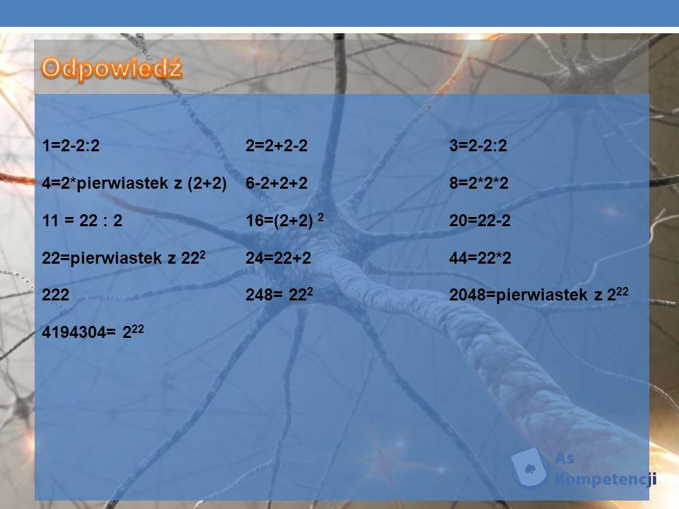 1=2-2:22=2+2-23=2-2:2 4=2*pierwiastek z (2+2)6-2+2+28=2*2*2 11 = 22 : 216=(2+2) 2 20=22-2 22=pierwiastek z 22 2 24=22+244=22*2 222248= 22 2 2048=pierw