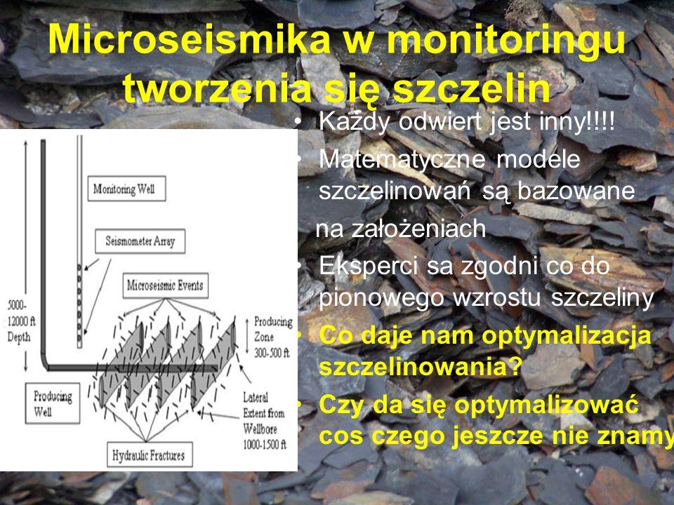 Microseismika w monitoringu tworzenia się szczelin Każdy odwiert jest inny!!!! Matematyczne modele szczelinowań są bazowane na założeniach Eksperci sa