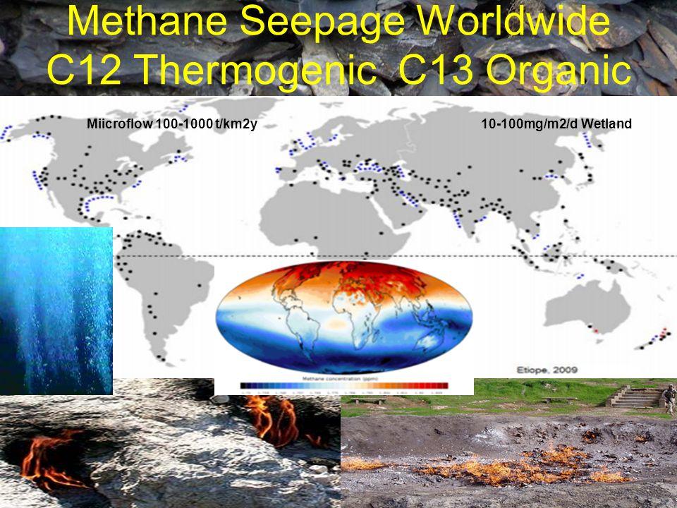 Methane Seepage Worldwide C12 Thermogenic C13 Organic 10-100mg/m2/d Wetland Miicroflow 100-1000 t/km2y