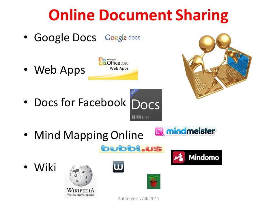 Online Document Sharing Google Docs Web Apps Docs for Facebook Mind Mapping Online Wiki Katarzyna Wilk 2011