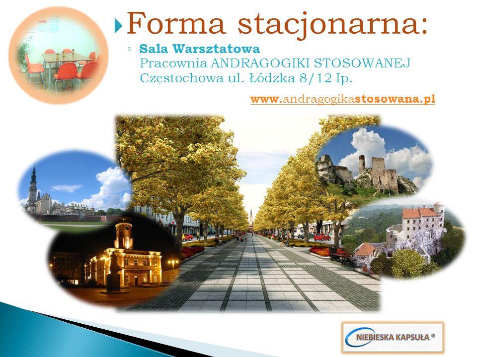Forma stacjonarna: Sala Warsztatowa Pracownia ANDRAGOGIKI STOSOWANEJ Częstochowa ul. Łódzka 8/12 Ip. www. andragogika stosowana.pl