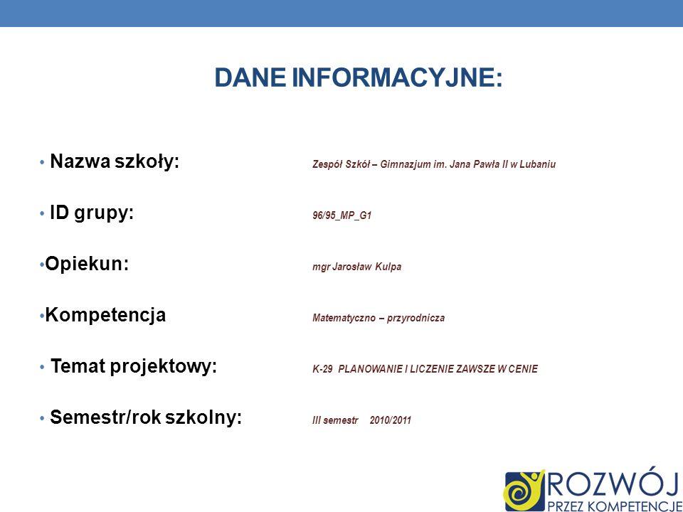 DANE INFORMACYJNE: Nazwa szkoły: Zespół Szkół – Gimnazjum im.
