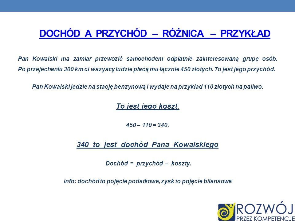 DOCHÓD A PRZYCHÓD – RÓŻNICA – PRZYKŁAD Pan Kowalski ma zamiar przewozić samochodem odpłatnie zainteresowaną grupę osób.