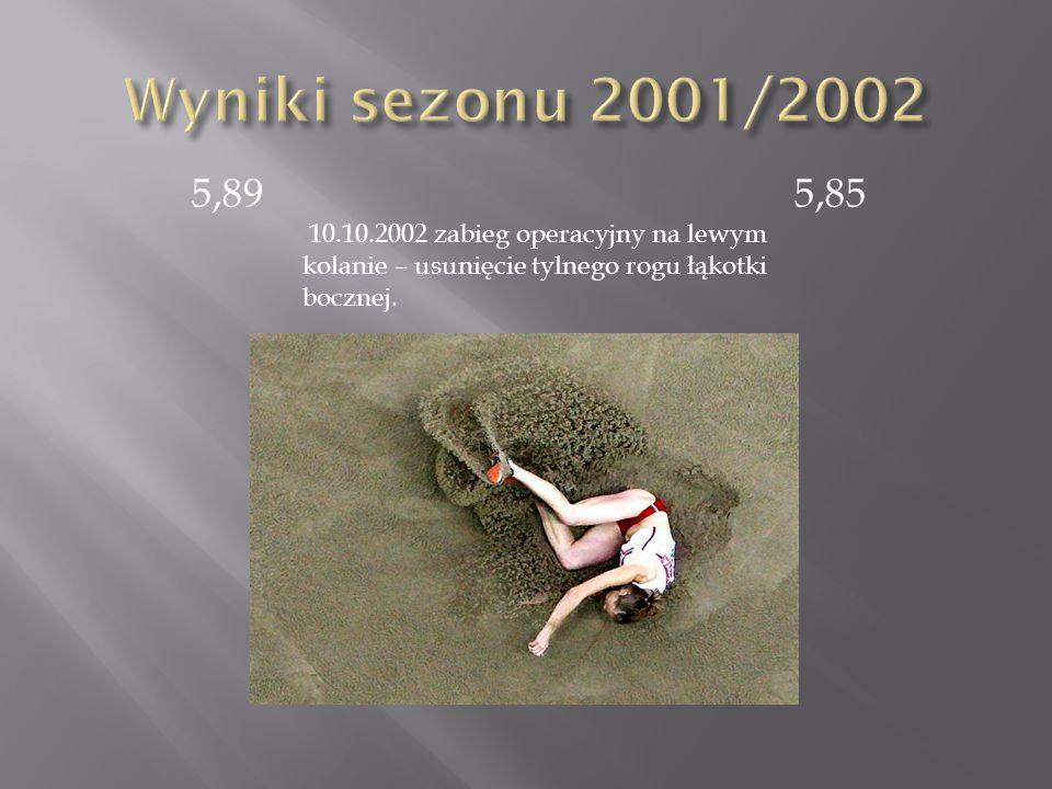 5,89 5,85 10.10.2002 zabieg operacyjny na lewym kolanie – usunięcie tylnego rogu łąkotki bocznej.