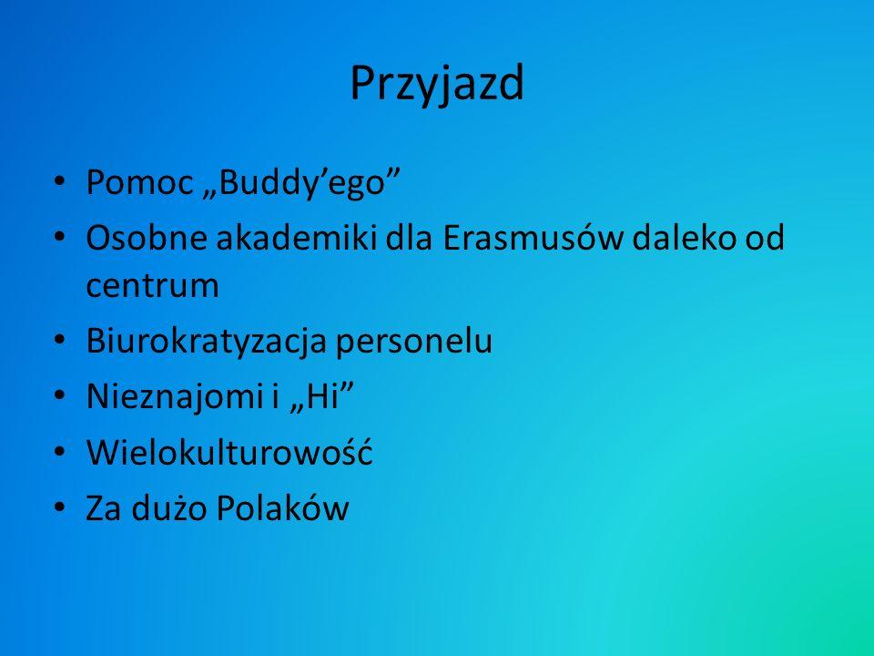 Przyjazd Pomoc Buddyego Osobne akademiki dla Erasmusów daleko od centrum Biurokratyzacja personelu Nieznajomi i Hi Wielokulturowość Za dużo Polaków
