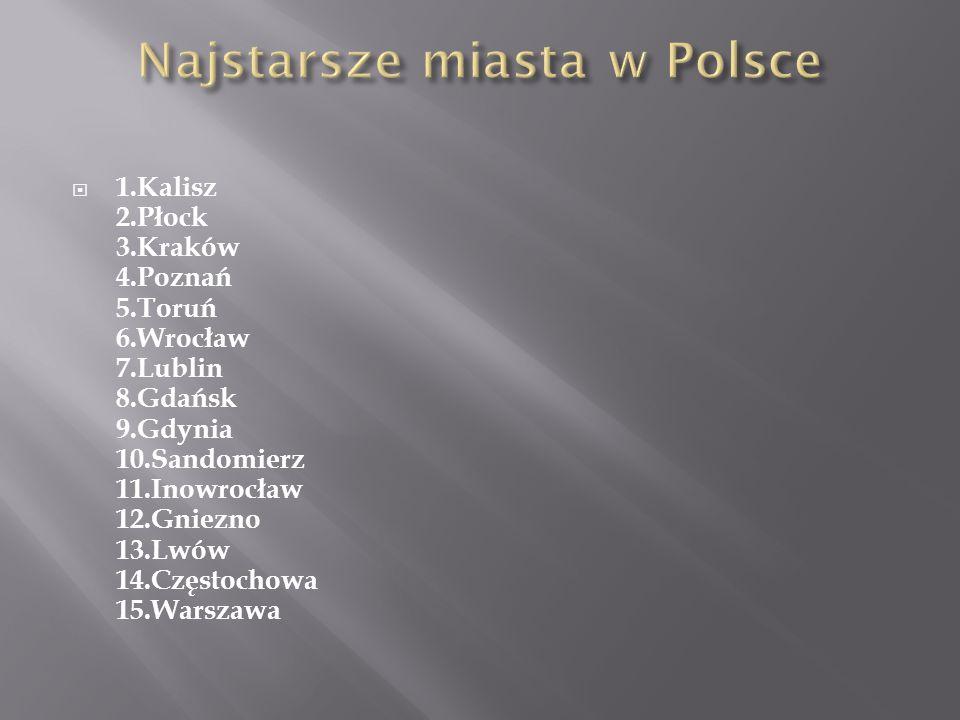 1.Kalisz 2.Płock 3.Kraków 4.Poznań 5.Toruń 6.Wrocław 7.Lublin 8.Gdańsk 9.Gdynia 10.Sandomierz 11.Inowrocław 12.Gniezno 13.Lwów 14.Częstochowa 15.Warsz
