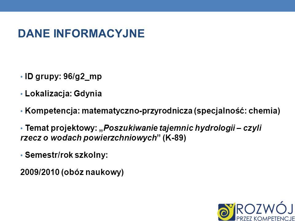 DANE INFORMACYJNE ID grupy: 96/g2_mp Lokalizacja: Gdynia Kompetencja: matematyczno-przyrodnicza (specjalność: chemia) Temat projektowy: Poszukiwanie t