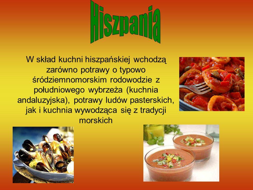 W skład kuchni hiszpańskiej wchodzą zarówno potrawy o typowo śródziemnomorskim rodowodzie z południowego wybrzeża (kuchnia andaluzyjska), potrawy ludó