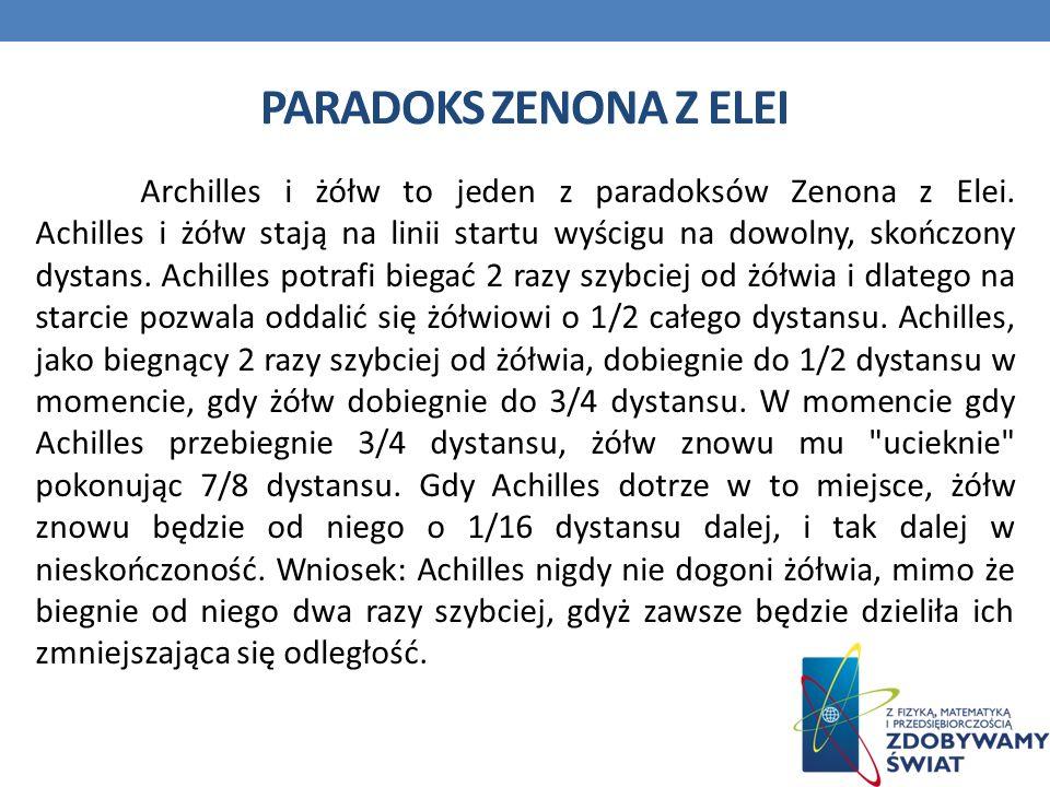 PARADOKS ZENONA Z ELEI Archilles i żółw to jeden z paradoksów Zenona z Elei.