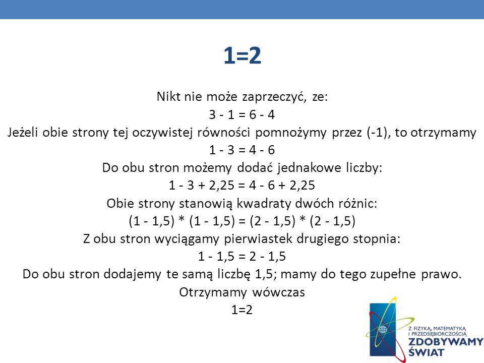 1=2 Nikt nie może zaprzeczyć, ze: 3 - 1 = 6 - 4 Jeżeli obie strony tej oczywistej równości pomnożymy przez (-1), to otrzymamy 1 - 3 = 4 - 6 Do obu stron możemy dodać jednakowe liczby: 1 - 3 + 2,25 = 4 - 6 + 2,25 Obie strony stanowią kwadraty dwóch różnic: (1 - 1,5) * (1 - 1,5) = (2 - 1,5) * (2 - 1,5) Z obu stron wyciągamy pierwiastek drugiego stopnia: 1 - 1,5 = 2 - 1,5 Do obu stron dodajemy te samą liczbę 1,5; mamy do tego zupełne prawo.