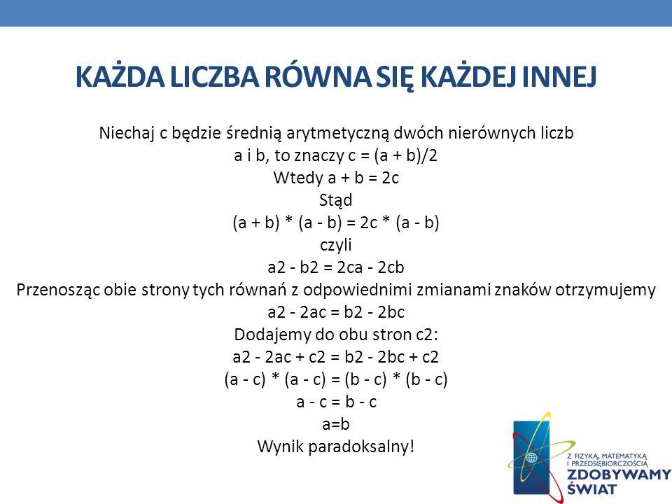 KAŻDA LICZBA RÓWNA SIĘ KAŻDEJ INNEJ Niechaj c będzie średnią arytmetyczną dwóch nierównych liczb a i b, to znaczy c = (a + b)/2 Wtedy a + b = 2c Stąd (a + b) * (a - b) = 2c * (a - b) czyli a2 - b2 = 2ca - 2cb Przenosząc obie strony tych równań z odpowiednimi zmianami znaków otrzymujemy a2 - 2ac = b2 - 2bc Dodajemy do obu stron c2: a2 - 2ac + c2 = b2 - 2bc + c2 (a - c) * (a - c) = (b - c) * (b - c) a - c = b - c a=b Wynik paradoksalny!