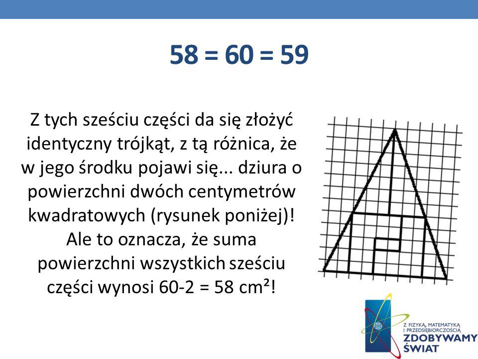 58 = 60 = 59 Z tych sześciu części da się złożyć identyczny trójkąt, z tą różnica, że w jego środku pojawi się...