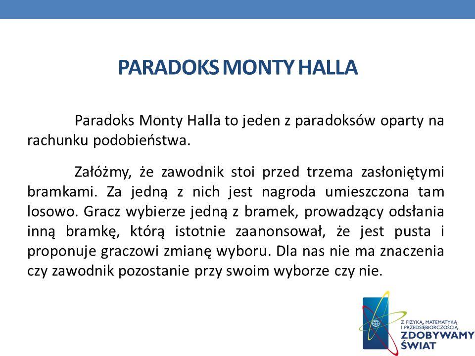 PARADOKS MONTY HALLA Paradoks Monty Halla to jeden z paradoksów oparty na rachunku podobieństwa.