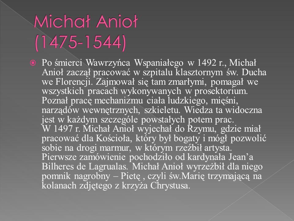 Po śmierci Wawrzyńca Wspaniałego w 1492 r., Michał Anioł zaczął pracować w szpitalu klasztornym św. Ducha we Florencji. Zajmował się tam zmarłymi, pom