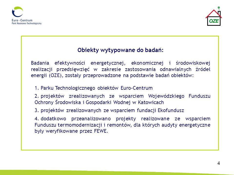 4 Obiekty wytypowane do badań: Badania efektywności energetycznej, ekonomicznej i środowiskowej realizacji przedsięwzięć w zakresie zastosowania odnaw