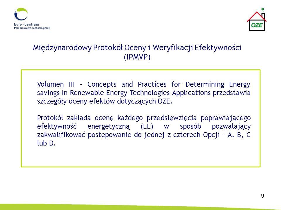 9 Międzynarodowy Protokół Oceny i Weryfikacji Efektywności (IPMVP) Volumen III – Concepts and Practices for Determining Energy savings In Renewable En