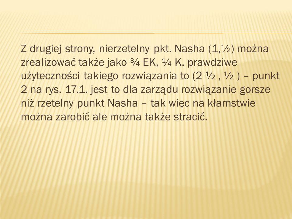 Z drugiej strony, nierzetelny pkt. Nasha (1,½) można zrealizować także jako ¾ EK, ¼ K.