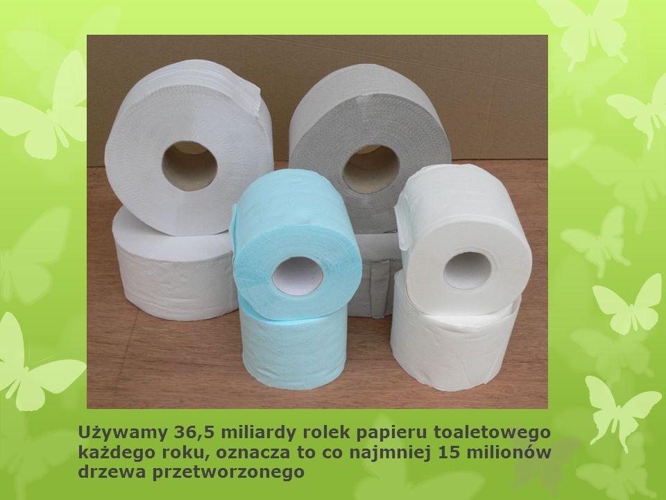 Używamy 36,5 miliardy rolek papieru toaletowego każdego roku, oznacza to co najmniej 15 milionów drzewa przetworzonego