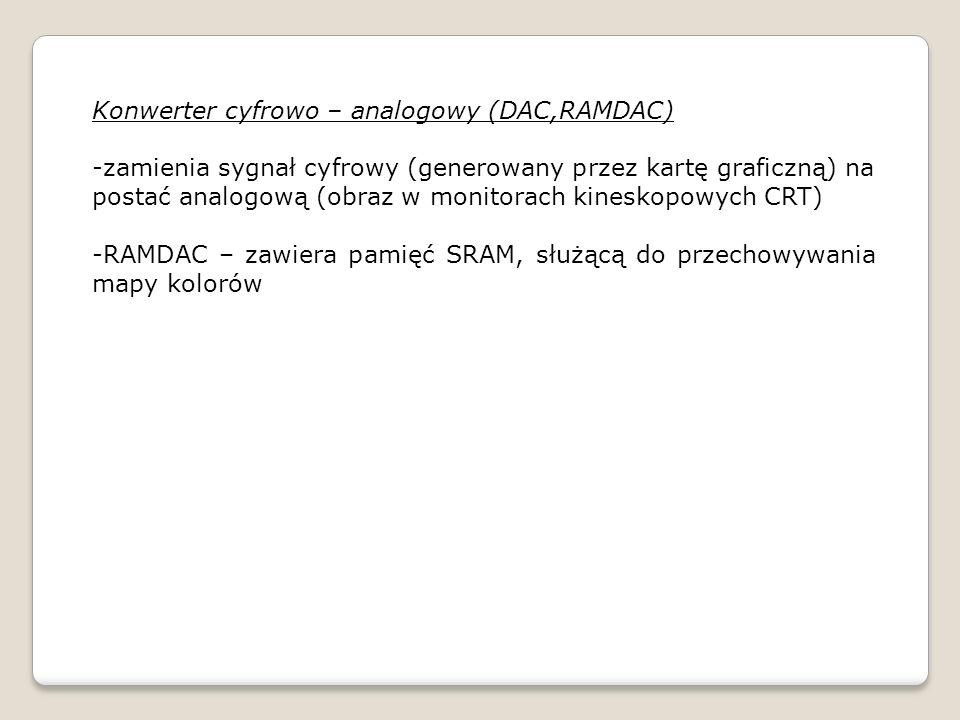 Konwerter cyfrowo – analogowy (DAC,RAMDAC) -zamienia sygnał cyfrowy (generowany przez kartę graficzną) na postać analogową (obraz w monitorach kinesko
