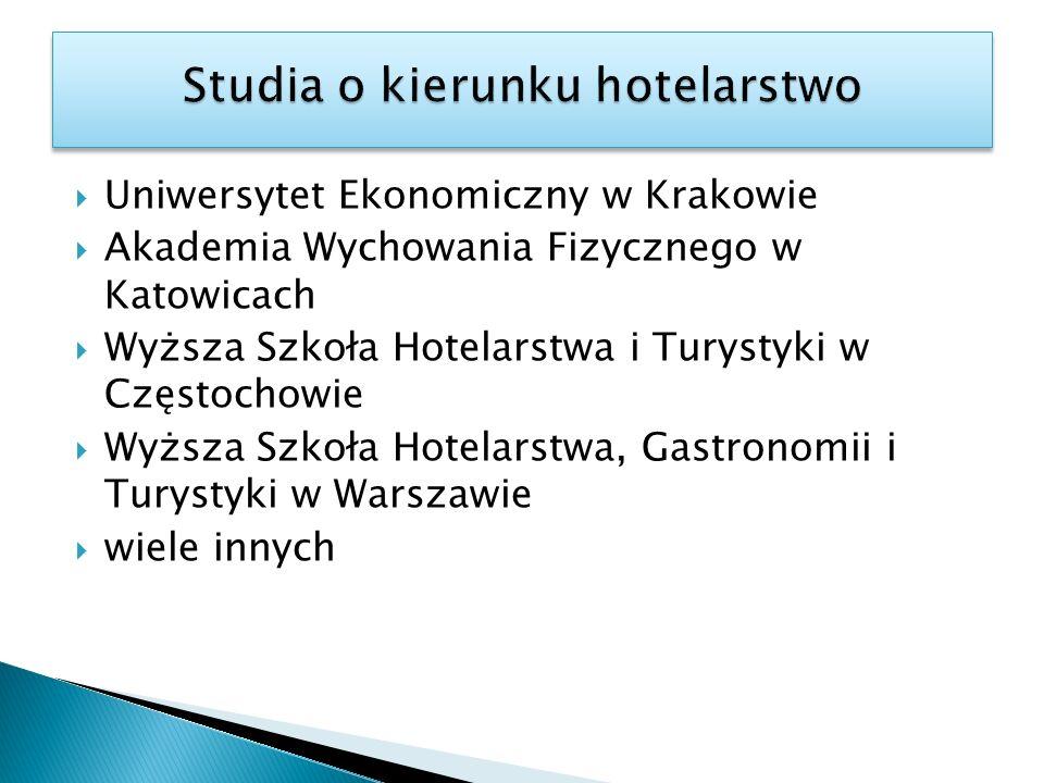 Uniwersytet Ekonomiczny w Krakowie Akademia Wychowania Fizycznego w Katowicach Wyższa Szkoła Hotelarstwa i Turystyki w Częstochowie Wyższa Szkoła Hote