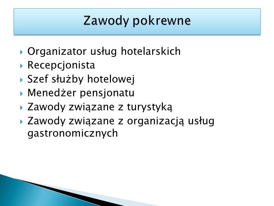 Organizator usług hotelarskich Recepcjonista Szef służby hotelowej Menedżer pensjonatu Zawody związane z turystyką Zawody związane z organizacją usług