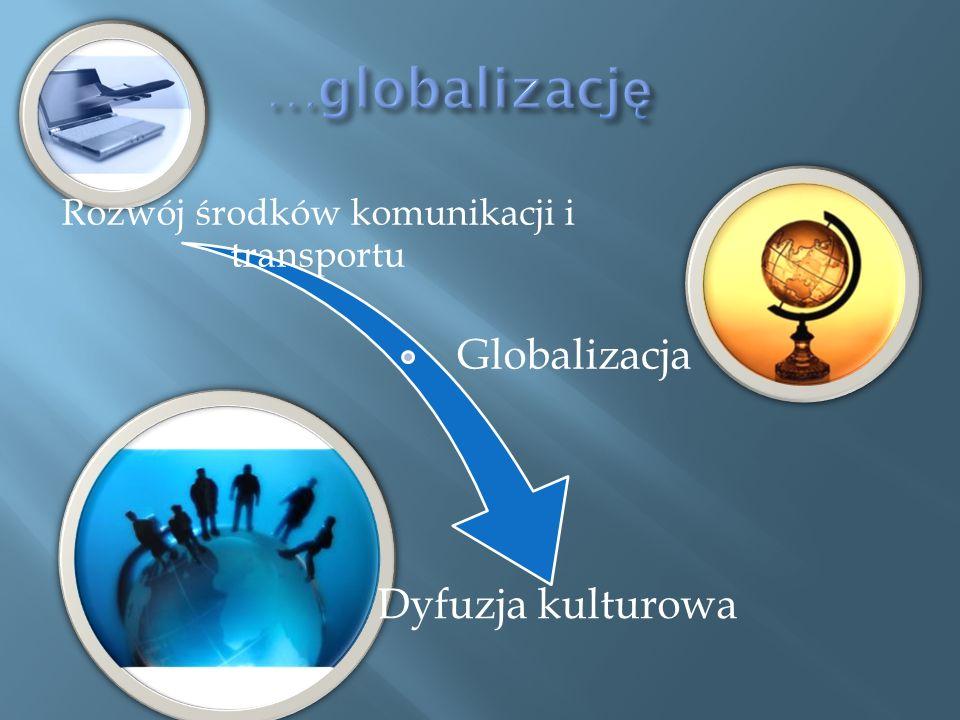 Rozwój środków komunikacji i transportu Globalizacja Dyfuzja kulturowa