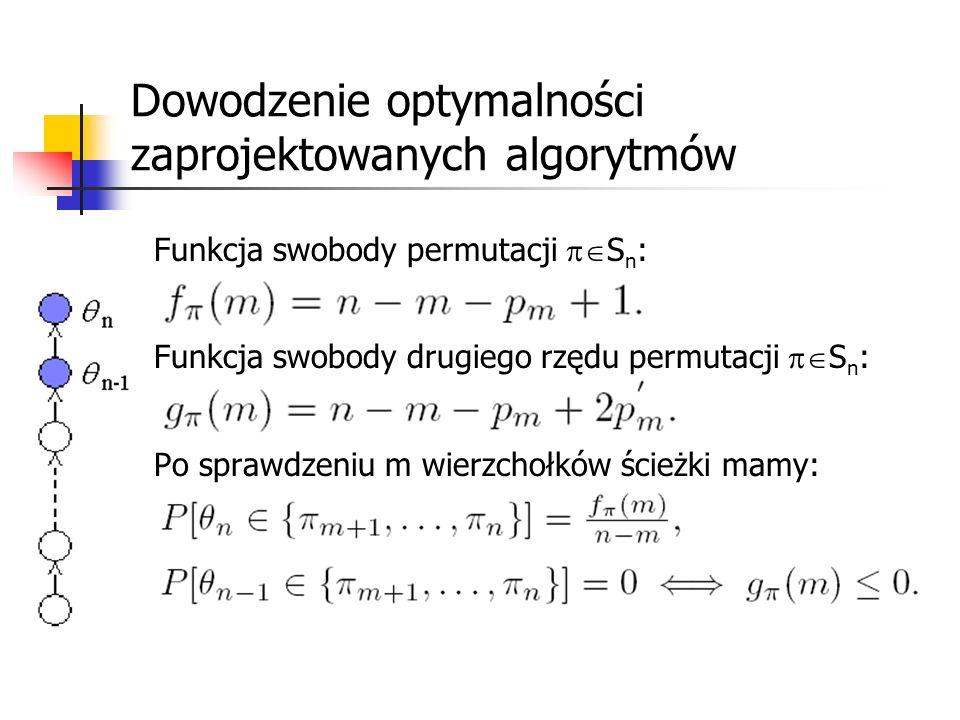 Dowodzenie optymalności zaprojektowanych algorytmów Funkcja swobody permutacji S n : Funkcja swobody drugiego rzędu permutacji S n : Po sprawdzeniu m