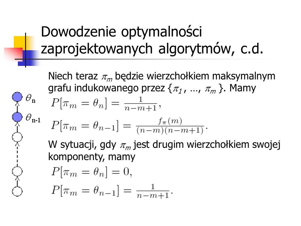 Dowodzenie optymalności zaprojektowanych algorytmów, c.d. Niech teraz m będzie wierzchołkiem maksymalnym grafu indukowanego przez { 1, …, m }. Mamy W