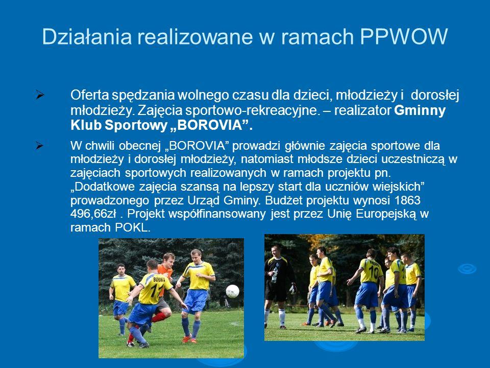Działania realizowane w ramach PPWOW Oferta spędzania wolnego czasu dla dzieci, młodzieży i dorosłej młodzieży. Zajęcia sportowo-rekreacyjne. – realiz