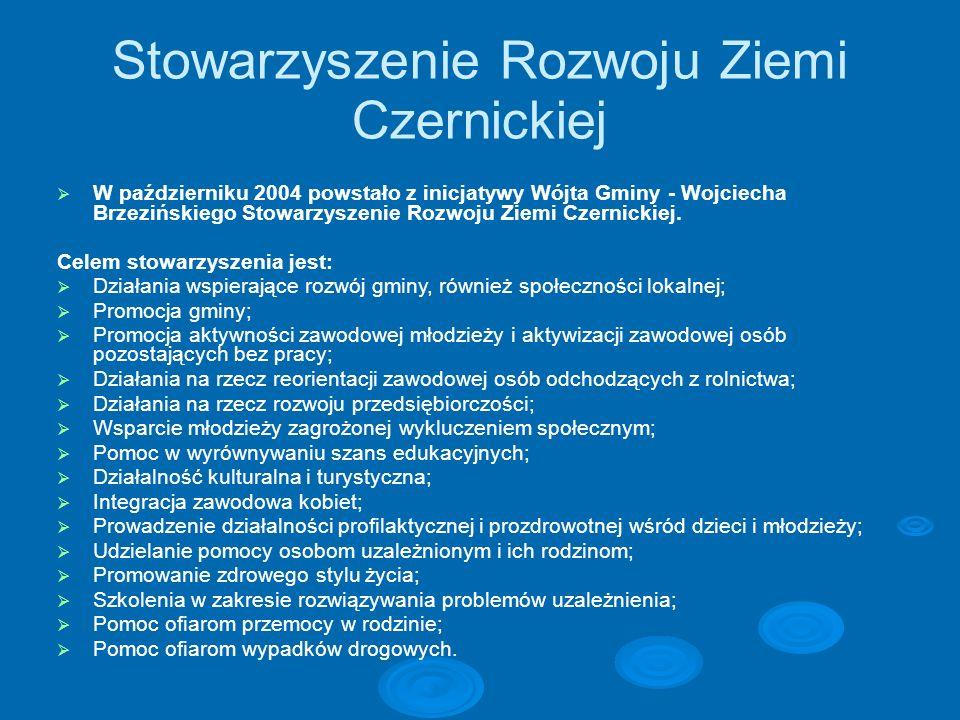 Stowarzyszenie Rozwoju Ziemi Czernickiej W październiku 2004 powstało z inicjatywy Wójta Gminy - Wojciecha Brzezińskiego Stowarzyszenie Rozwoju Ziemi