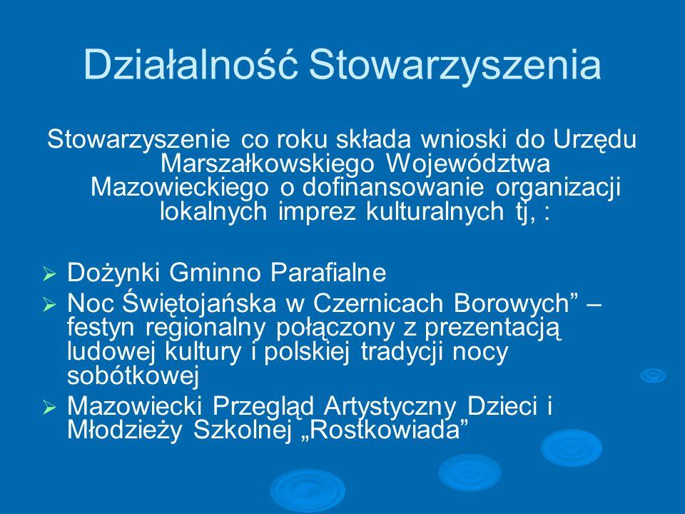 Działalność Stowarzyszenia Stowarzyszenie co roku składa wnioski do Urzędu Marszałkowskiego Województwa Mazowieckiego o dofinansowanie organizacji lok