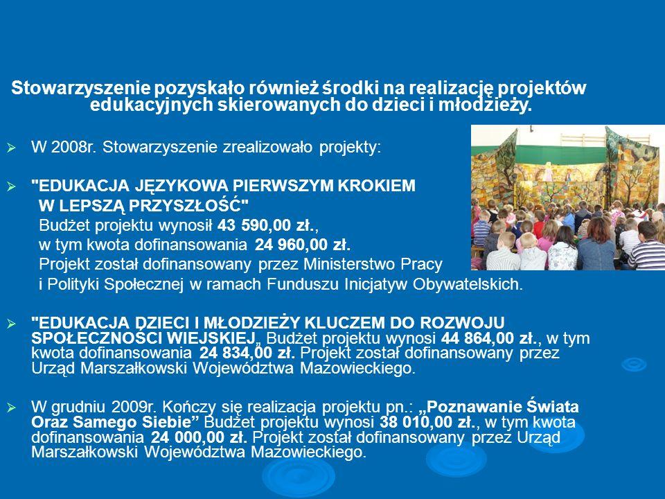 Stowarzyszenie pozyskało również środki na realizację projektów edukacyjnych skierowanych do dzieci i młodzieży. W 2008r. Stowarzyszenie zrealizowało