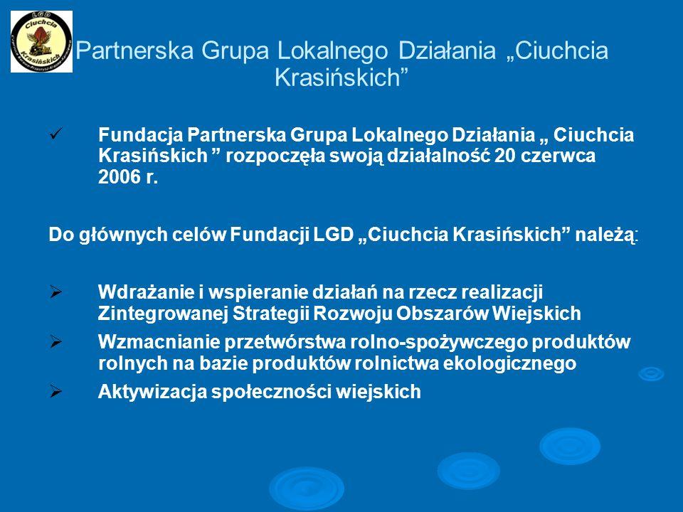 Partnerska Grupa Lokalnego Działania Ciuchcia Krasińskich Fundacja Partnerska Grupa Lokalnego Działania Ciuchcia Krasińskich rozpoczęła swoją działaln