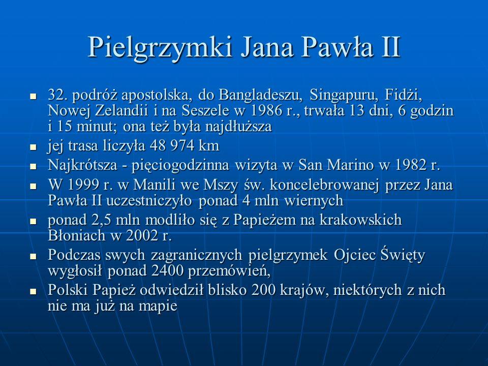 Pielgrzymki Jana Pawła II 32. podróż apostolska, do Bangladeszu, Singapuru, Fidżi, Nowej Zelandii i na Seszele w 1986 r., trwała 13 dni, 6 godzin i 15
