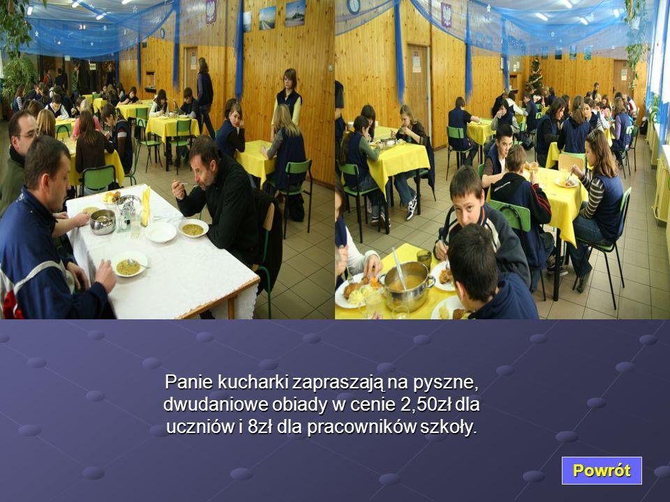 Panie kucharki zapraszają na pyszne, dwudaniowe obiady w cenie 2,50zł dla uczniów i 8zł dla pracowników szkoły. Powrót