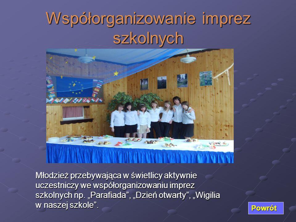 Współorganizowanie imprez szkolnych Powrót Młodzież przebywająca w świetlicy aktywnie uczestniczy we współorganizowaniu imprez szkolnych np. Parafiada