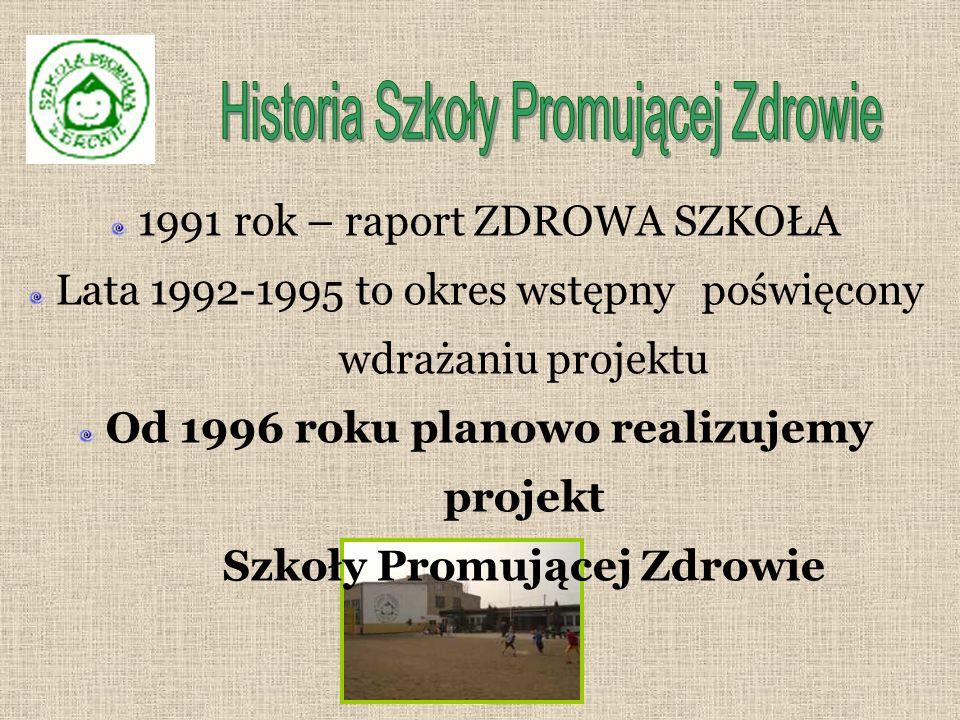 1991 rok – raport ZDROWA SZKOŁA Lata 1992-1995 to okres wstępny poświęcony wdrażaniu projektu Od 1996 roku planowo realizujemy projekt Szkoły Promującej Zdrowie