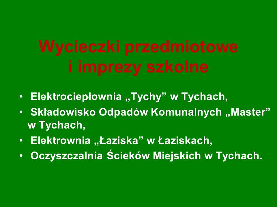 Wycieczki przedmiotowe i imprezy szkolne Elektrociepłownia Tychy w Tychach, Składowisko Odpadów Komunalnych Master w Tychach, Elektrownia Łaziska w Łaziskach, Oczyszczalnia Ścieków Miejskich w Tychach.