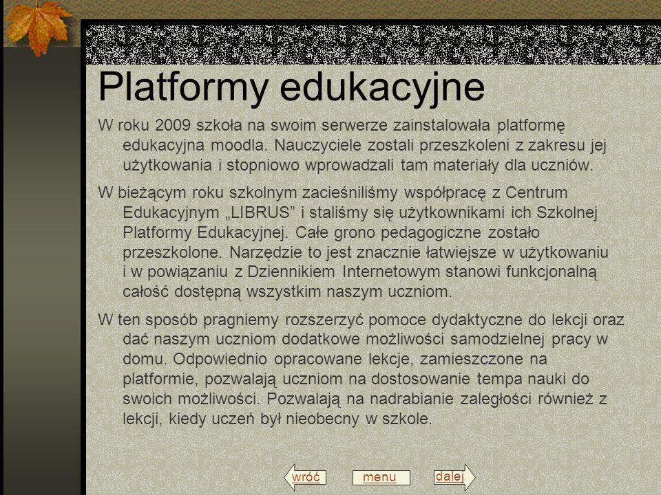 wróć menu dalej Eksperymenty W klasach informatycznych poprowadzono jako ciekawostkę i eksperyment, lekcje poprzez Internet z nauczycielami przebywającymi w tym czasie w swoim domu.