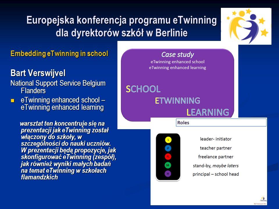 Embedding eTwinning in school Bart Verswijvel National Support Service Belgium Flanders eTwinning enhanced school – eTwinning enhanced learning eTwinning enhanced school – eTwinning enhanced learning warsztat ten koncentruje się na prezentacji jak eTwinning został włączony do szkoły, w szczególności do nauki uczniów.