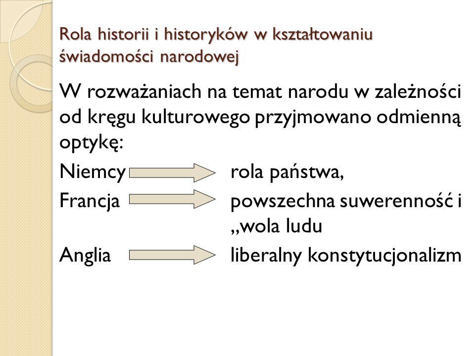 Rola historii i historyków w kształtowaniu świadomości narodowej W rozważaniach na temat narodu w zależności od kręgu kulturowego przyjmowano odmienną