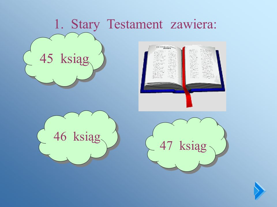 QUIZ BIBLIJNY DLA UCZNIÓW KLASY IV Zastanów się i odpowiedz na pytania, które znajdziesz na następnej stronie. Wybraną przez siebie odpowiedź zaznacz