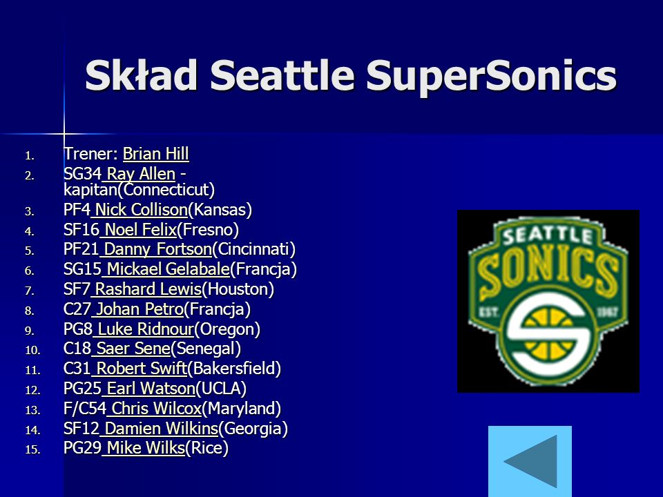 Skład Seattle SuperSonics 1. Trener: Brian Hill Brian HillBrian Hill 2. SG34 Ray Allen - kapitan(Connecticut) Ray Allen Ray Allen 3. PF4 Nick Collison