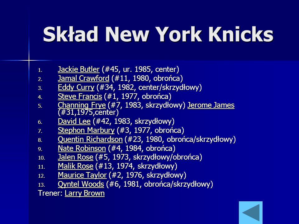 Skład New York Knicks 1. Jackie Butler (#45, ur. 1985, center) Jackie Butler Jackie Butler 2. Jamal Crawford (#11, 1980, obrońca) Jamal Crawford Jamal