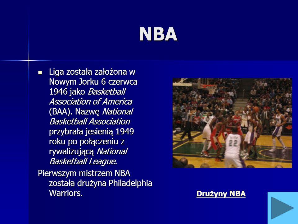 NBA Liga została założona w Nowym Jorku 6 czerwca 1946 jako Basketball Association of America (BAA). Nazwę National Basketball Association przybrała j
