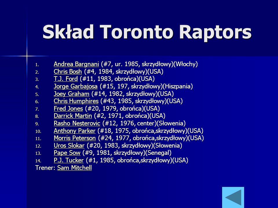 Skład Toronto Raptors 1. Andrea Bargnani (#7, ur. 1985, skrzydłowy)(Włochy) Andrea Bargnani Andrea Bargnani 2. Chris Bosh (#4, 1984, skrzydłowy)(USA)